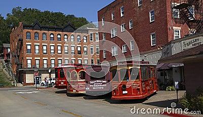 Trolleybussgarage i historisk Galena, Illinois Redaktionell Foto