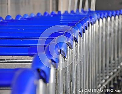 Trolleys in airport