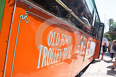 Trolleys tour in old town San Diego, California Editorial Stock Photo
