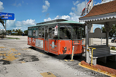 Trolly in Key West Florida Editorial Stock Photo