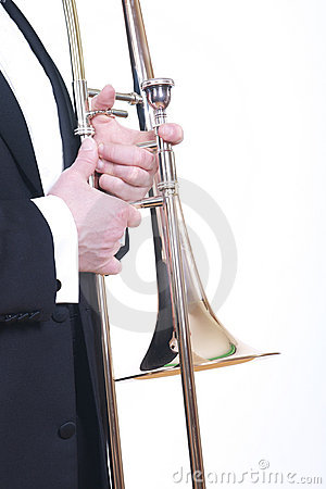 Trombone and tuxedo on white