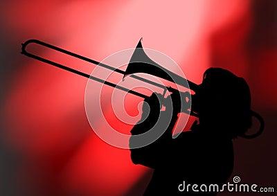 Trombonist silhouette