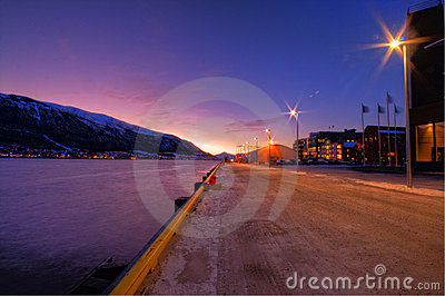 Tromso city at twilight