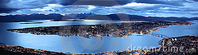 Tromso by twilight panorama, northern Norway Stock Photo