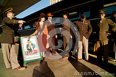 Troop Train and Uncle Sam Editorial Image