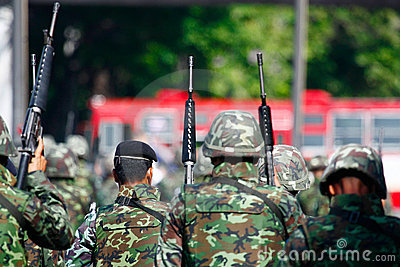 Troops advancing to Din Daeng intersection Editorial Stock Photo