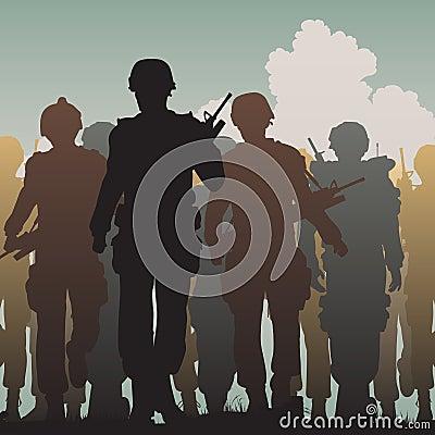 Troops walking