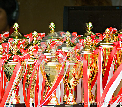Trophies at a sports event
