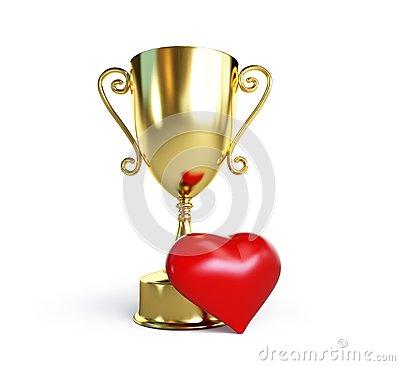 Trophy cup heart on a white background