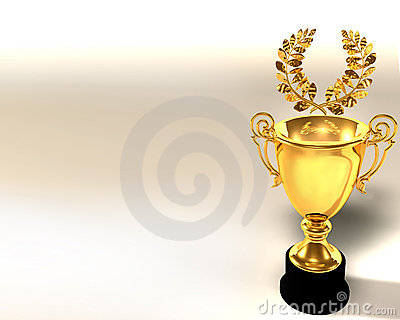 Trophy cup and laurel wreath