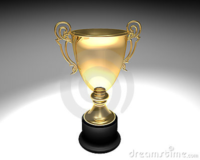 Trophy cup on neutral background