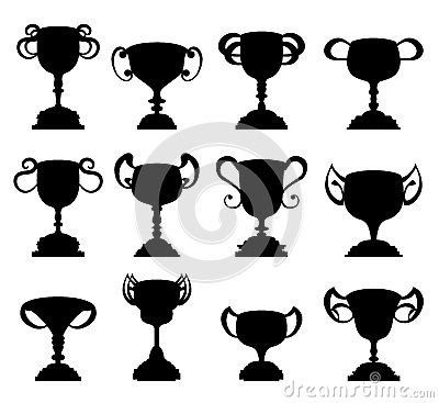 Trophy cup symbol silhouette set