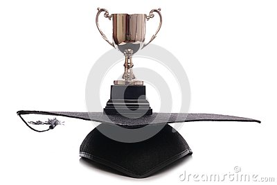 Trophy and mortar board hat