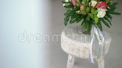 Tropial bridal bouquet. At sunny day stock video footage