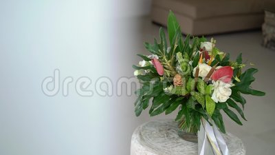 Tropial bridal bouquet. Tropical bridal bouquet at sunny day stock video