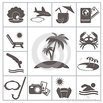 Free Tropic Resort Icons Royalty Free Stock Image - 32597016