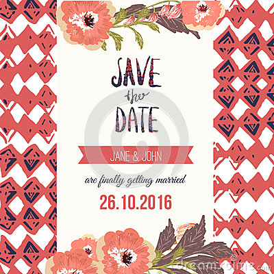 Free Tropic Save The Date Card With Flowers. Can Be Stock Image - 63149561