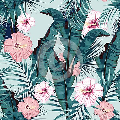 Tropic summer painting seamless vector pattern with palm banana leaf and plants. Floral jungle hibiscus paradise flowers. Vector Illustration