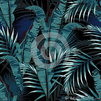 Free Tropic Summer Painting Seamless Vector Pattern With Palm Banana Leaf And Plants. Royalty Free Stock Photos - 121960548