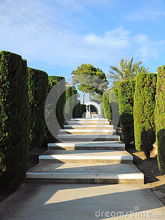 Tropical alley perspective with steps, Mallorca