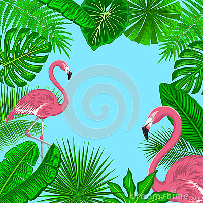 Free Tropical Background Frame With Exotic Jungle Leaves And Pink Flamingos. Stock Photos - 78863763