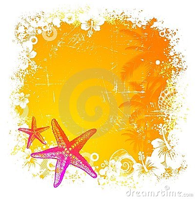 Tropical background with starfishes