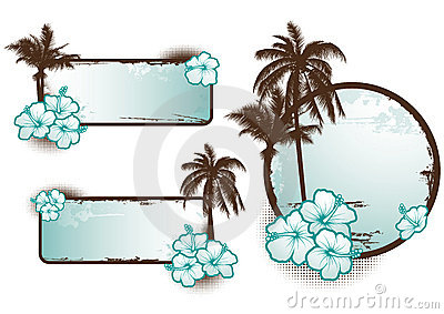 Tropical banners blue - vector