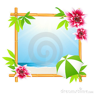 Tropical beach in bamboo frame