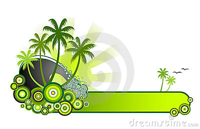 Tropical Beach Banner-Green