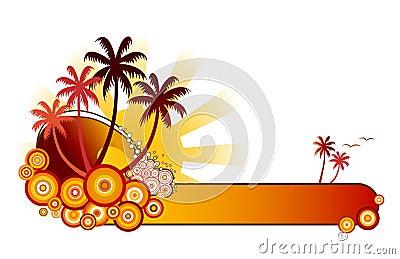 Tropical Beach Banner-Red