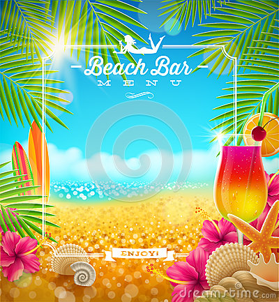 Tropical Beach Bar Menu Stock Vector Image 39150832