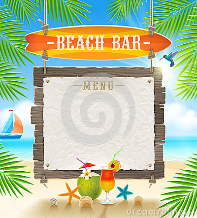 Tropical beach bar signboard Stock Photo