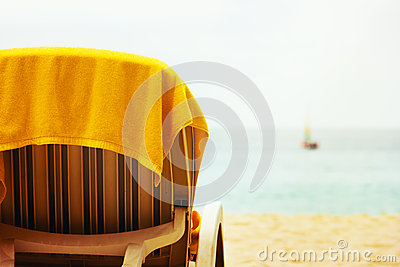 Tropical beach with beach chair