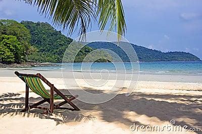 Tropical beach. Beach chairs on the white sand beach