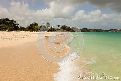 Tropical Beach Blue Cloudy Sky