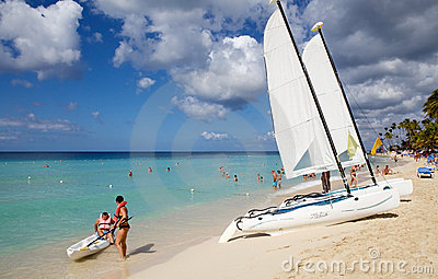 Tropical beach and boats Editorial Stock Photo
