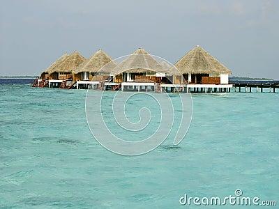 Tropical beach and Cabanas on Maldives Island