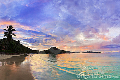 Tropical beach Cote d Or at sunset, Seychelles