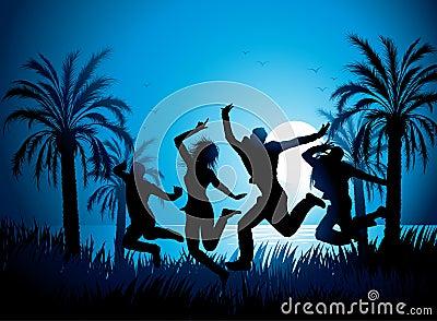 Tropical beach dancers