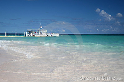 Tropical beach and ferry