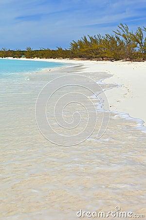 Tropical beach and footprints