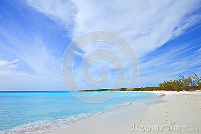 Tropical beach and footprints