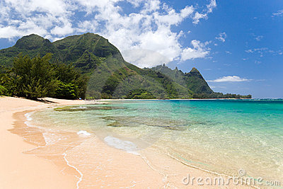 Tropical beach haena hawaii