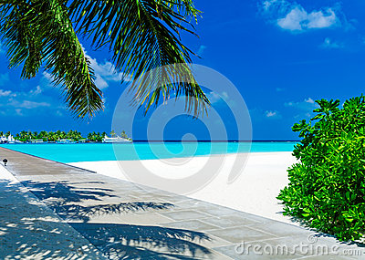 Tropical Beach with Island and Boats