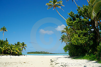 Tropical beach, islands and blue sky.