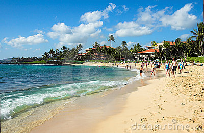 Tropical beach in Kauai, Hawaii