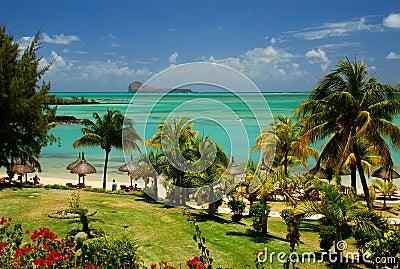 Tropical beach and lagoon. Mauritius