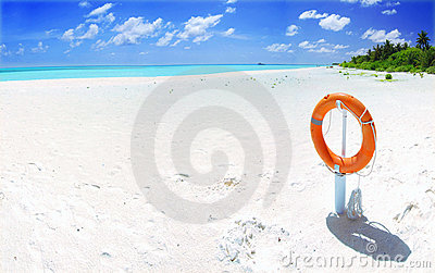 Tropical beach and lifebuoy panorama