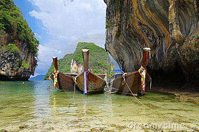 Tropical beach, longtail boats