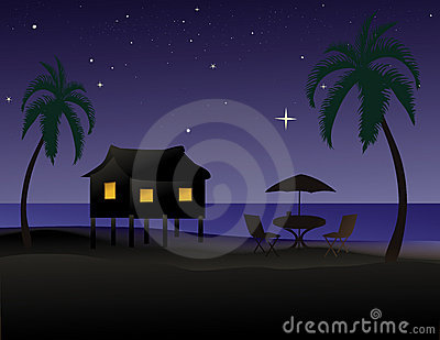 Tropical beach at night